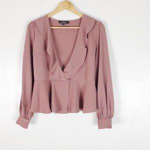 Lulu's Pink Faux Wrap Blouse Sz S